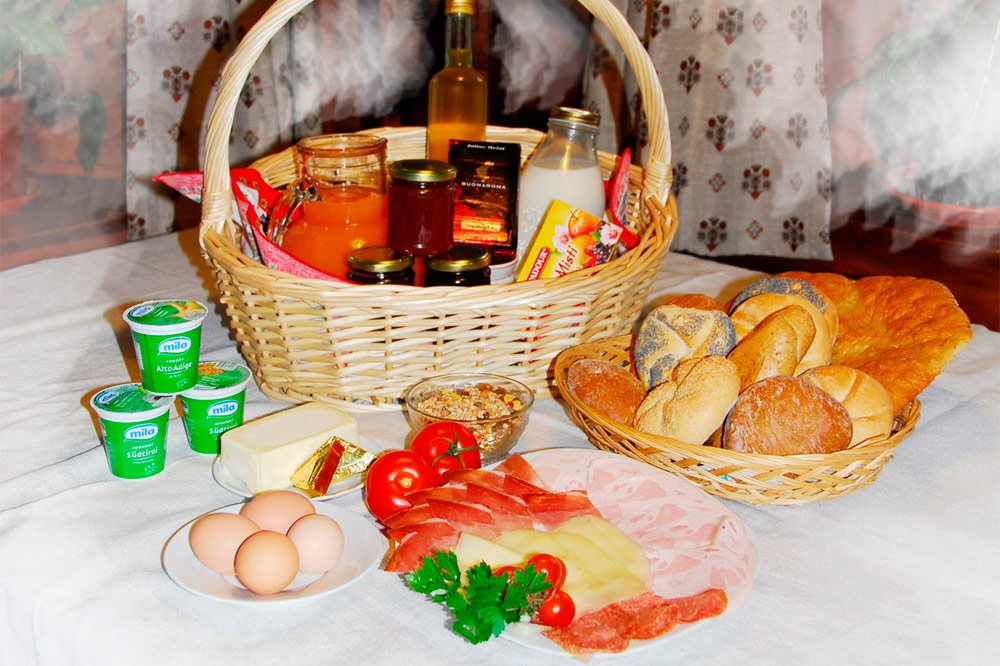 Breakfast basket with delicious farm products